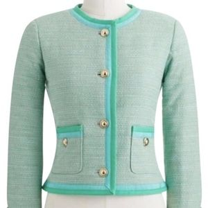 J. Crew Green Button Down Blazer Jacket Coat Gold